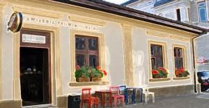 kontakt Kawiarnia Prowincjonalna w Nowym Sączu na rogu ulic Pijarskiej i Piastowskiej